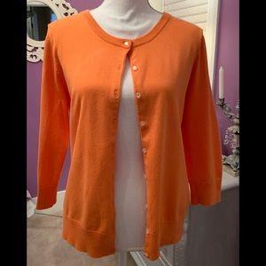 Talbots bright orange cardigan medium petite